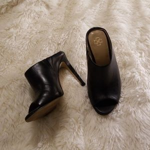 Ann Taylor black leather mules heels